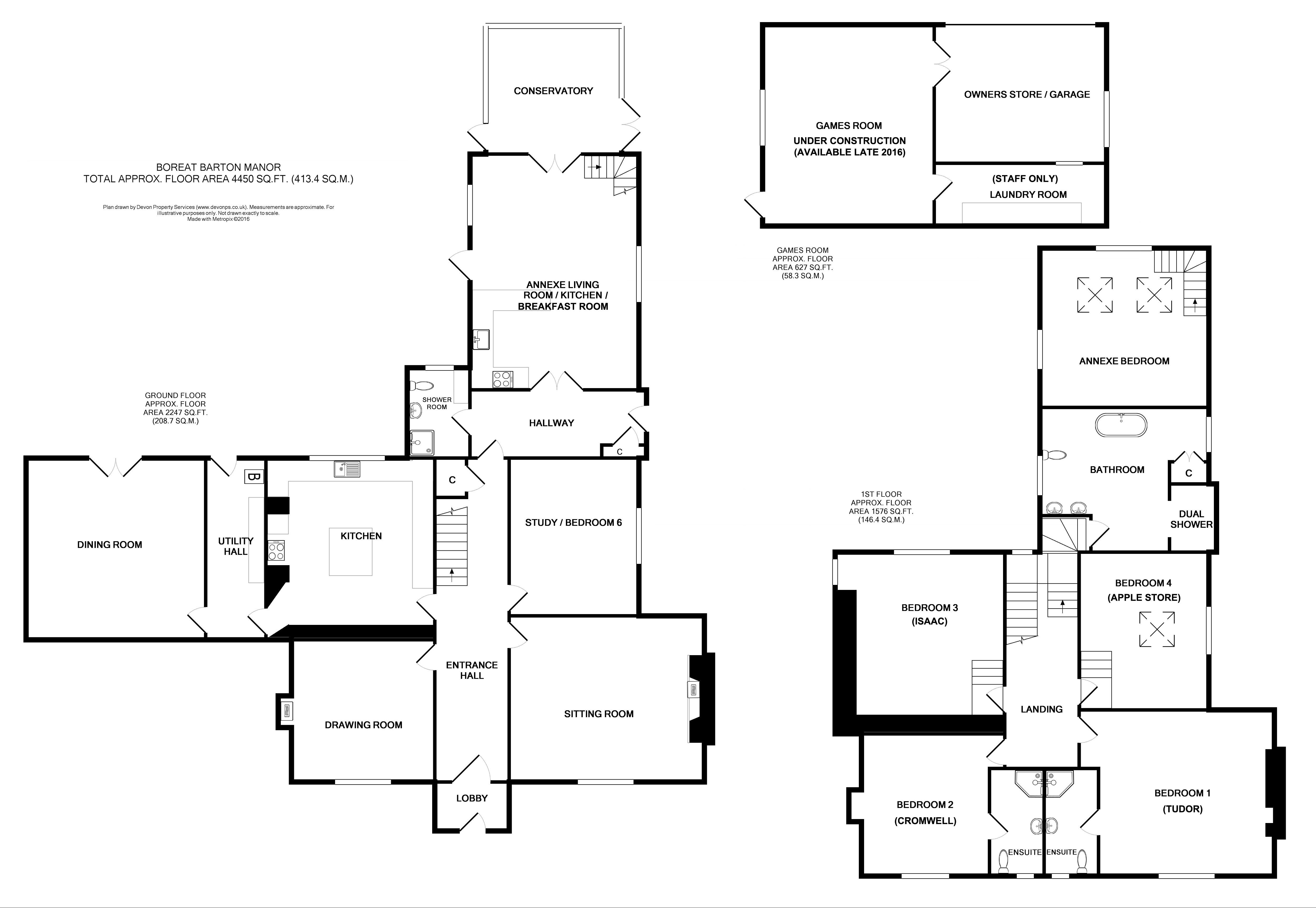 Boreat Manor Self Catering Holiday Home In Devon Floor Plan